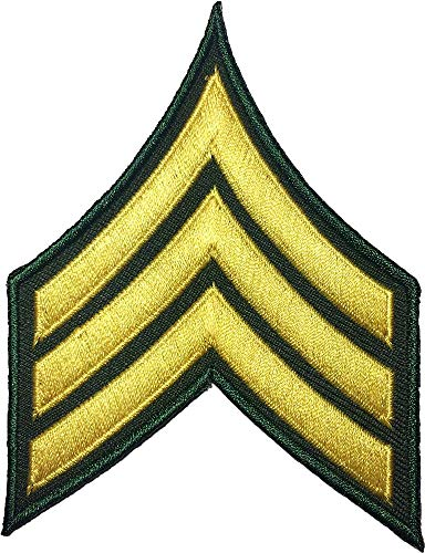 US.Army Sergeant E-5 (2 Pack) Stripes Rank Military Uniform Chevrons Morale Applique Embroidered SEW Iron ON ARM Shoulder Emblem Badge Patch Gold ON ()