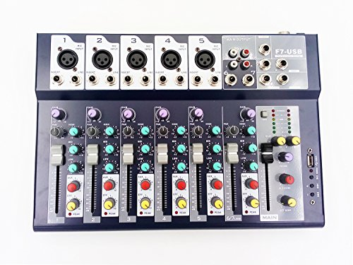 Professional Audio Console - Weymic Professional Mixer | 7-Channel 2-Bus Mixer with USB Input 48V Phantom Power for Recording DJ Stage Karaoke Music Application