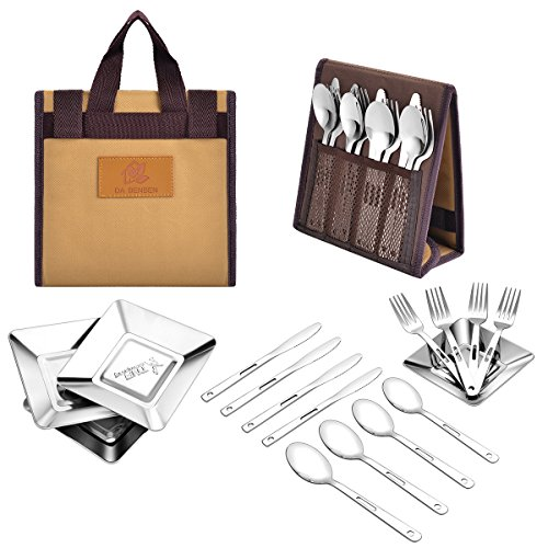DABENBEN Stainless Steel Camping Tableware Set with Portable Carry Bag (Tableware set)