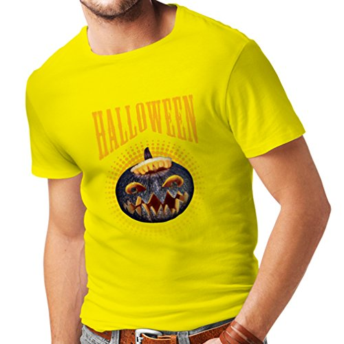 T Shirts for Men Halloween Pumpkin - Clever Costume Ideas 2017 (Large Yellow Multi Color) -