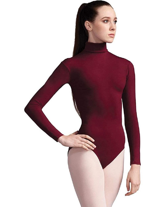 f0155695e Elegance Ladies Turtleneck Cotton Long-sleeve Stretch Burgundy ...