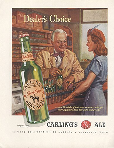 1946-ad-carling-red-cap-ale-alcohol-drink-beverage-woman-buys-from-happy-man-original-vintage-advert