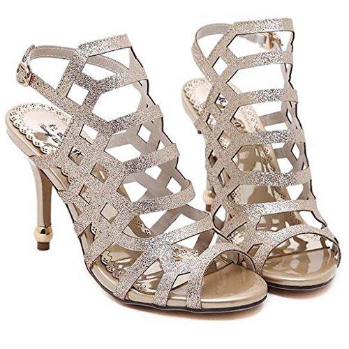 SHEO sandalias de tacón alto Señoras de alto perfil con un sexy hueco sandalias impermeables Oro