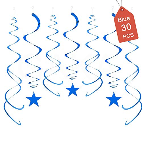 Hanging Swirl Decorations Blue Stars Decorations Pack of 30,Plastic Swirl Party Decorations For Ceiling Decorations,Hanging Decorations Whirls for Wedding Birthday Party Twinkle Twinkle Little Star