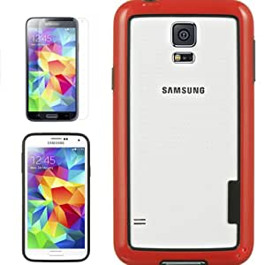 [ARENA] RED BLACK HYBRID TPU RUBBER BORDER COVER HARD GEL CASE for SAMSUNG GALAXY S5 + FREE SCREEN PROTECTOR