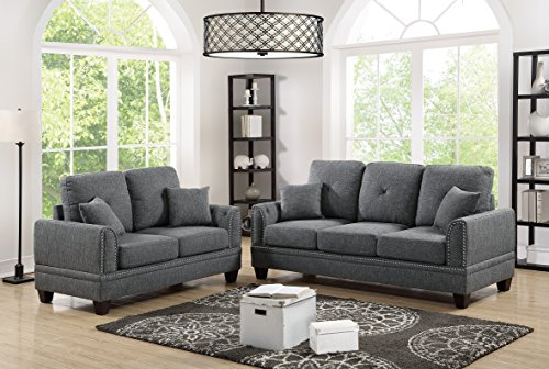2pcs Sofa Set Bobkona Living Room Sofa And Love-seat Ash Black Cotton Blended Fabric Couch Wood legs Pillows Cushion Back Seat Nickel Studs - Room Ash Loveseat Living