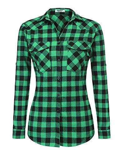 Wendy Gravity Falls Costume (Zeagoo Womens Tartan Plaid Flannel Shirts, Roll up Sleeve Casual Boyfriend Button Down Gingham Checkered)