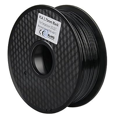 1.75mm 3D Filament PLA 3D Printer Filament 1KG Spool Filament for 3D Printing, Dimensional Accuracy +/- 0.02 mm(Black)