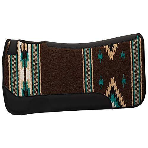 Weaver Leather 35-1677-S6 Contoured Single Weave Wool Blend Felt Saddle Pad, Dark Brown/Turquoise