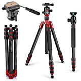 Neewer Carbon Fiber Tripod Monopod 67 inches/170 centimeters with 360 Degree Ball Head, Fluid Video Head, 1/4-inch Quick Shoe Plate and Bag for DSLR Camera,Video Camcorder up to 33 pounds/15 kilograms