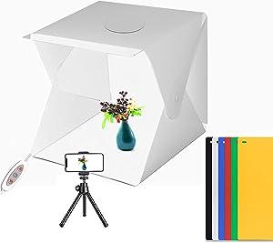Photo Studio Table Light Box, 16 X16 inch for Food Photography Kit, Adjustable Brightness Studio Box with Led Light/ 6 Color Backdrops and Mini Tripod