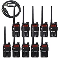 10 Pack BaoFeng 5W UV-5R 128 Channel Dual Band Two Way Radio with A USB Programming Cable