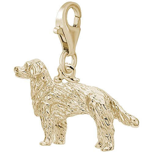Gold Dog Retriever Charm Plated (Gold Plated Gldn Retriever Dog Charm With Lobster Claw Clasp, Charms for Bracelets and Necklaces)