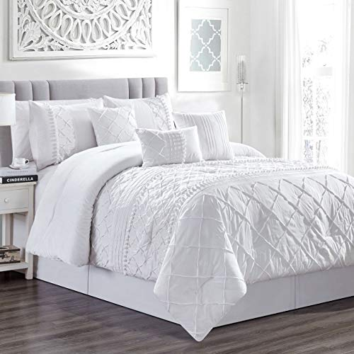 KingLinen 11 Piece Harmony White Bed in a Bag Set Queen ()