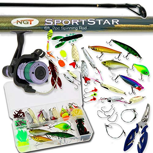 DNA Leisure Starter Fishing 6ft Rod and Reel Spinning Combo Tackle Set With Lures Bass Pike