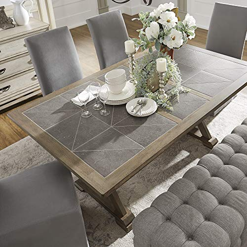 iNSPIRE Q Artisan Pennington Grey Wood Rectangular Tile Top Trestle Dining Table by