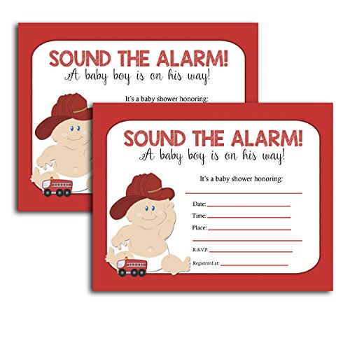 (Firefighter Fireman Boy Baby Shower Invitation Cards Fill-in (20-count))