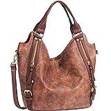 JOYSON Women Handbags Hobo Shoulder Bags Tote PU Leather Handbags Fashion Large Capacity Bags Coffe, Medium