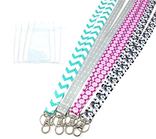 - ECOHIP 4-Pack Lanyards for Women, Cute Lanyard with ID Holder, Name Badge Clips