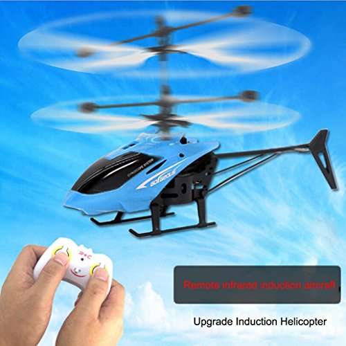 RC 901 2CH Remote Control Flying Mini Helicopter Infraed Induction Airplane LED Light Blue/Red/Yellow (Blue) ()