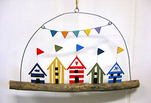 Rustic Beach Huts with Flags in Driftwood Decorative Seaside Theme - Seaside Huts