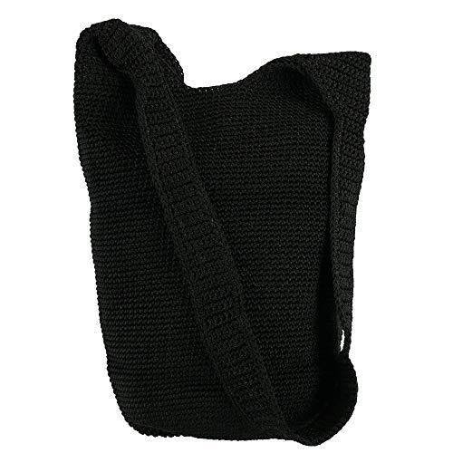 CTM Mujer de ganchillo Sling Bolso Bandolera, color Negro, talla Talla Unica