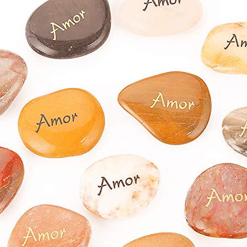 12PCS Amor RockImpact Spanish ESPAÑOL Amor Love Stone Engraved Inspirational Stones Novelty Reiki Chakra Healing Balancing Inspiring Palm Worry Stone Love Rocks Pocket Word Stone Wholesale