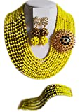 Nigerian Wedding African Beads Yellow and Gold Plated Crystal Bridal Jewelry Sets