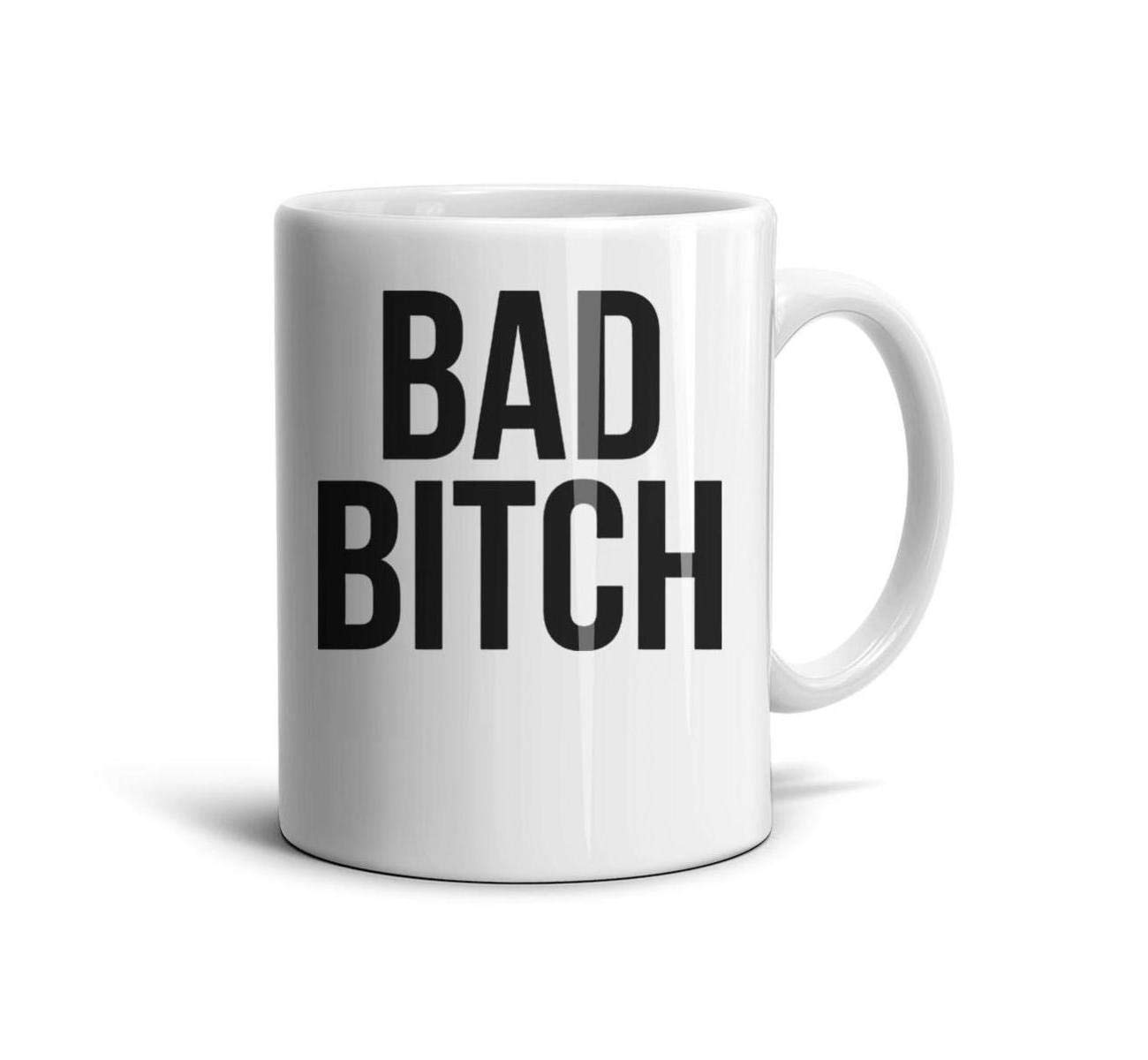 devrrssx Bad Bitch Black Printed Letters Cool Mug Great Gift 1 Set for Office and Home for dadMaximum Capacity 13.5oz