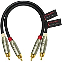 1 Foot RCA Cable Pair - Made with Mogami 2549, High-Definition Audio Interconnect Cable and Amphenol ACPR Die-Cast Body, Gold Plated RCA Connectors – Directional design for Audiophile Performance