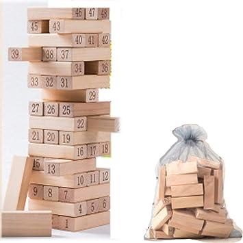 TISESIT INDOOR Jenga Nifios De Apilamiento De Madera para Niños Juego De Jenga Juegos De Mesa Niños - Juegos De Mesa Tumbling Blocks,Wood Color: Amazon.es: Deportes y aire libre