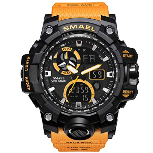 Richermall Mens Sports Analog Quartz Watch Dual Display Waterproof Digital Watches with LED Backlight relogio masculino (Orange black)
