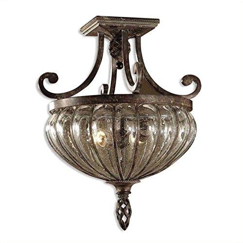 - Regarmans Uttermost Galeana 2 Light Glass Semi Flush Mount traditional in Antique Saddle .by_homesquarecom it#213222183743737