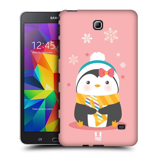 Head Case Designs Pink Kawaii Christmas Penguins Protective Snap-on Hard Back Case Cover for Samsung Galaxy Tab 4 7.0 T230 T231 T235