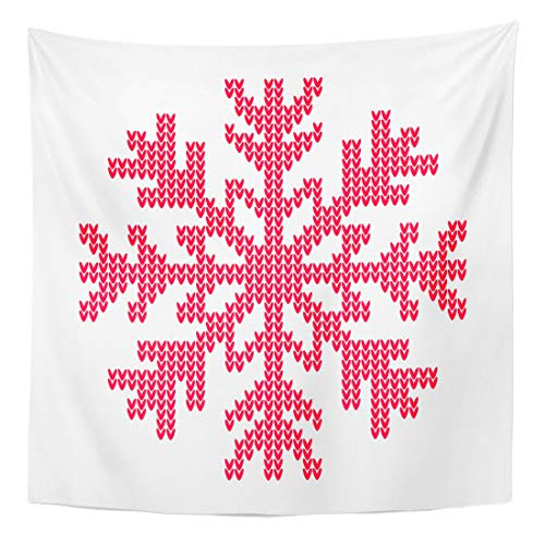 (Semtomn Tapestry Wall Hanging Home Art Red Knit Knitted Snowflake Sweater Pattern Christmas Flake Holiday 60