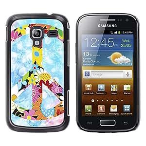 TECHCASE**Cubierta de la caja de protección la piel dura para el ** Samsung Galaxy Ace 2 I8160 Ace II X S7560M ** Peace Hippie Symbol Colorful Flowers Spring