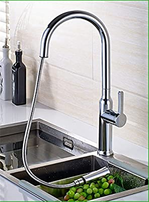 LHbox Tap Sprayer Spout Kitchen Faucet Brass faucets Chrome Pull-Down Swivel Kitchen Sink Faucet and Cold Water Mixed Dish Washing Basin Mixer