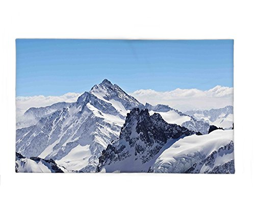 Interestlee Fleece Throw Blanket Winter Decor Snowy Rocky Mountain Peaks Tops Scene High Lands Icy Frozen Swiss Outdoor Art Blue (Swiss Dot Baby Doll Top)