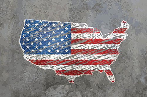 United States Outline Flag Map Stone Background Photo Art Print Poster 36x24 inch