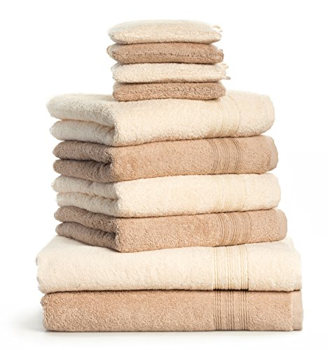 Dream Art Frottier 3487 Fb. 0737 10-teilig Handtuchset 2x Duschtuch 70/140, 4x Handtuch 50/100 und 4x Waschhandschuh 16 x 21 cm, creme / beige