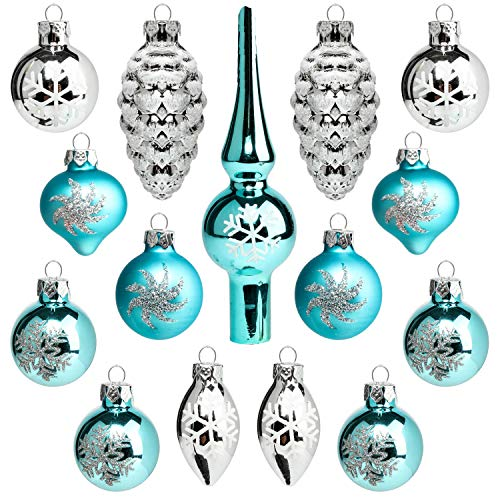Costyleen Christmas Decoration Colorful Glass Balls Ornaments Set Festival Home Party Decors Xmas Tree Hanging Pendant Assorted Decorative Baubles Mini Size 1.2in 15-Pack Snowflake Blue ()