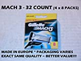 Gillette Mach 3 - 32 Count (4 x 8 Pack)