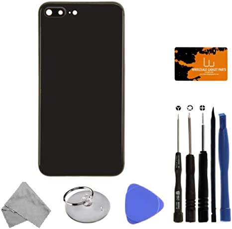 Rear Glass, Frame, Small Components Space Gray for iPhone 8 Plus with Tool Kit Housing