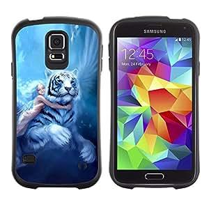 Paccase / Suave TPU GEL Caso Carcasa de Protección Funda para - Fairytale Big Tiger Girl Wings Blue Hair - Samsung Galaxy S5 SM-G900