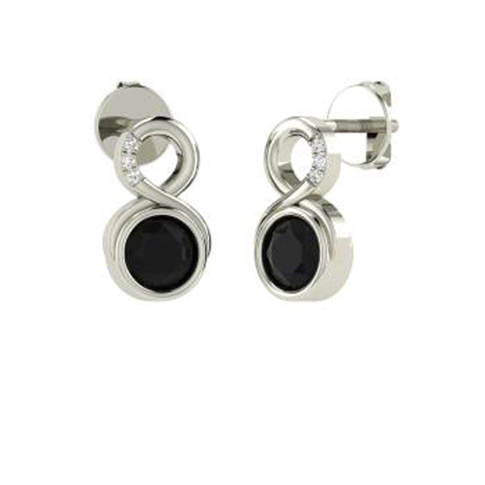 Ringjewels 0.95 Ct Round Cut Black CZ Diamond Infinity Drop Earrings In 14K Gold Plated For Women /& Girls