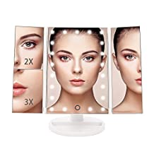 BESTOPE Vanity Makeup Mirror Trifold 21 LED Lighted with Touch Screen, 1x/2x/3x Magnification and USB Charging, 180° Adjustable Stand for Countertop Cosmetic Makeup