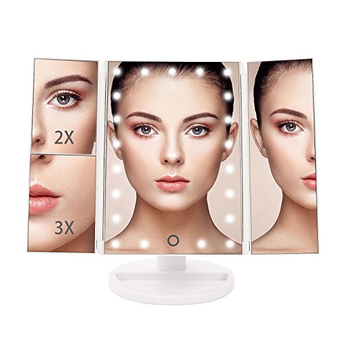 Price comparison product image Bestope Vanity Makeup Mirror Trifold 21 Led Lighted with Touch Screen, 1x/2x/3x Magnification and Usb Charging, 180° Adjustable Stand for Countertop Cosmetic Makeup