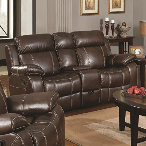 - Coaster Myleene Chestnut Leather Reclining Love Seat with Cup Holders