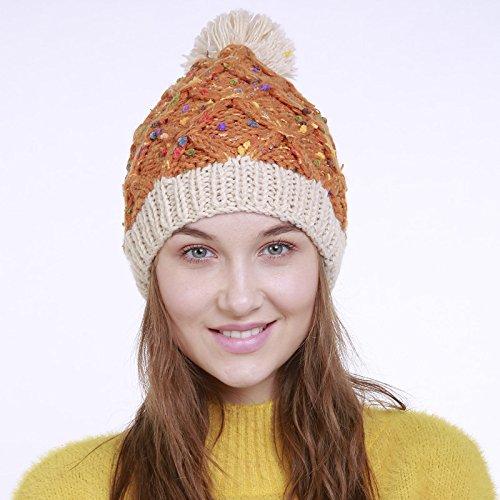 Tricot Hiver En Fil Femme Chapeau Tresser De Pompon style À Bonnet Automne Orange Laine 3 Acvip w7pxvaqw