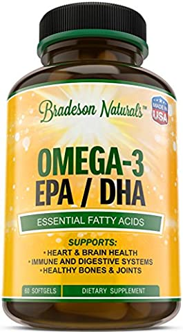 Omega 3 EPA DHA Supplement. 2000mg Omega 3 Fish Oil. Supports Heart & Brain Health. Promotes Healthy Bones & Joints. Essential Fatty Acids. No Fishy Aftertaste Non-GMO, Made in USA